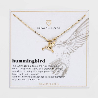 Beloved + Inspired Gold Dipped Silver Plated Hummingbird Necklace