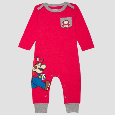 Baby Boys' Nintendo Super Mario Long Sleeve Romper - Red Newborn