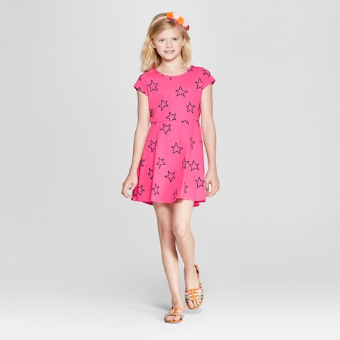 Girls' Short Sleeve Stars Dress - Cat & Jack™ Pink - image 1 of 3
