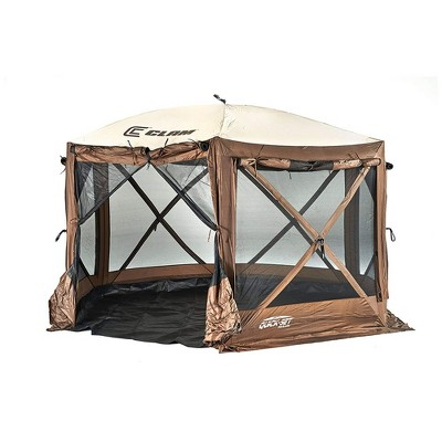 CLAM Quick-Set Pavilion Camper 12.5 x 12.5 Foot Portable Pop-Up Camping Outdoor Gazebo Screen Tent 6 Sided Canopy Shelter w/ Ground Stakes & Bag, Tan