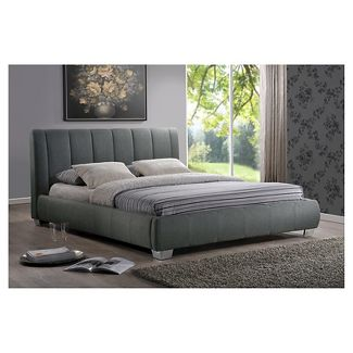 Marzenia Contemporary Fabric Bed - Gray (Queen) - Baxton Studio