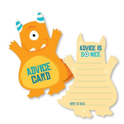 Big Dot of Happiness Monster Bash - Wish Card Little Monster Baby Shower Activities - Shaped Advice Cards Game - Set of 20