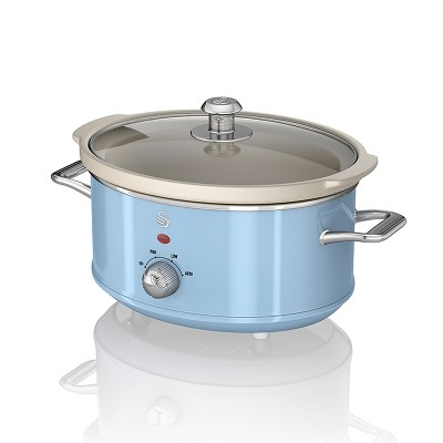 Swan 3.5 Liter 200 Watt Vintage Retro Automatic Electric Kitchen Slow Cooker Pot with High, Low, Auto, and Keep Warm Settings, Blue
