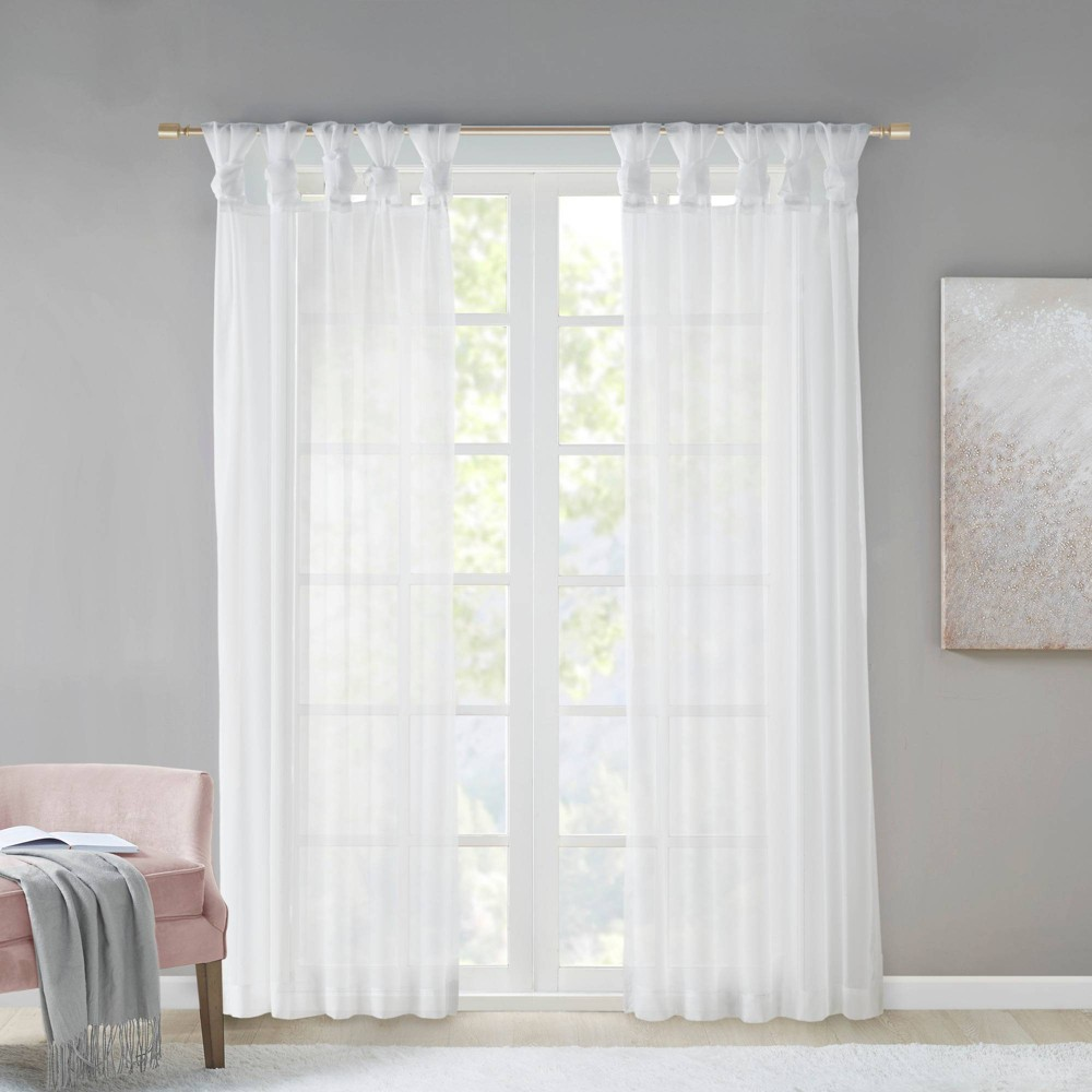 Set Of 2 84 34 X50 34 Persis Twisted Tab Voile Sheer Window White