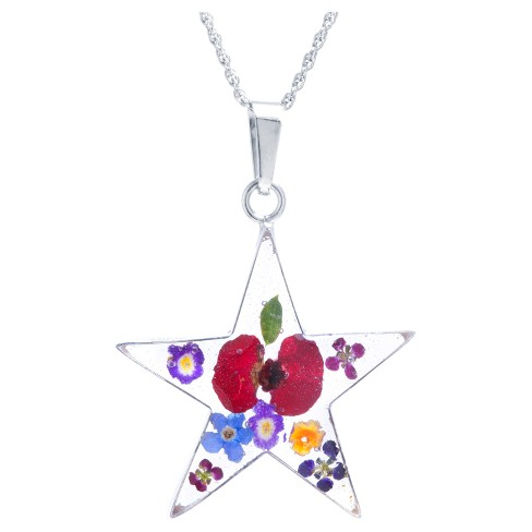 """Women's Sterling Silver Pressed Flowers Star Pendant (18"""") - image 1 of 1"""