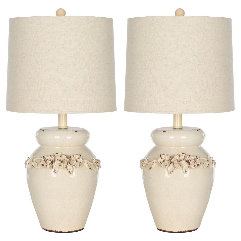 Image of Cream Ceramic Marquesa Vase Table Lamp Set of 2- Safavieh