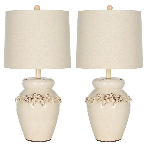Cream Ceramic Marquesa Vase Table Lamp Set Of 2 Safavieh Target