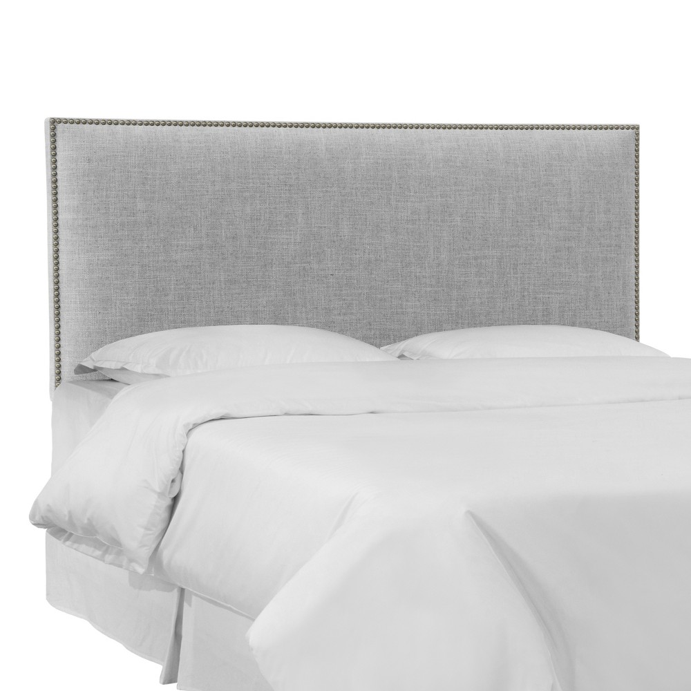 Twin Bella Nail Button Border Headboard Pumice Gray Linen with Pewter Nailbuttons - Cloth & Co.
