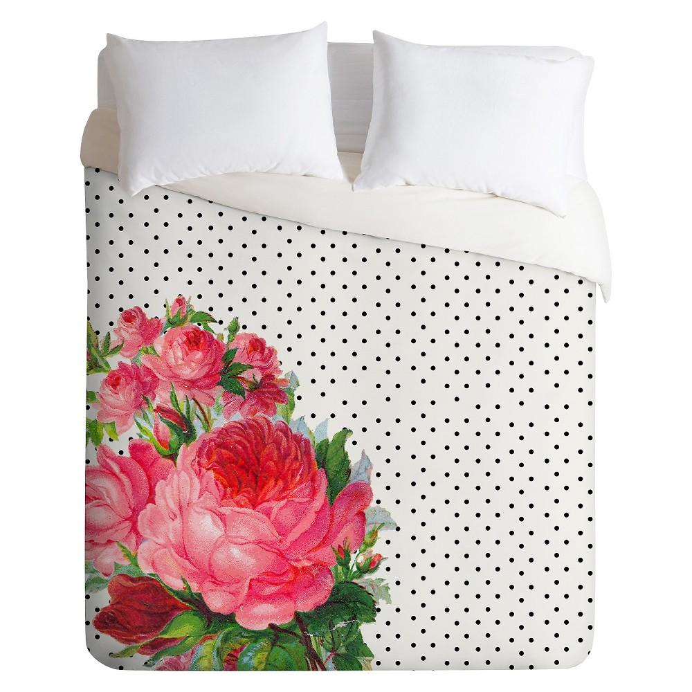 Floral Polka Dots Lightweight Duvet Cover Twin Pink Rose - Deny Designs