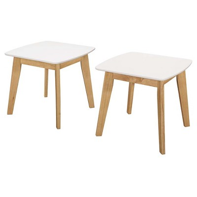 Set of 2 Modern End Side Table White/Natural - Saracina Home