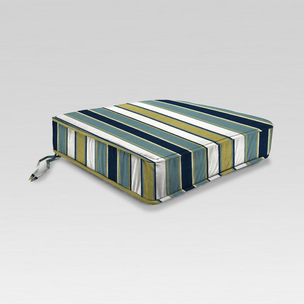 Outdoor Boxed Edge Seat Cushion - Green/Blue Stripe - Jordan Manufacturing