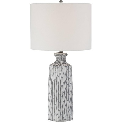 360 Lighting Modern Table Lamp Gray White Wash Ceramic Drum Shade for Living Room Bedroom House Bedside Nightstand Home Office