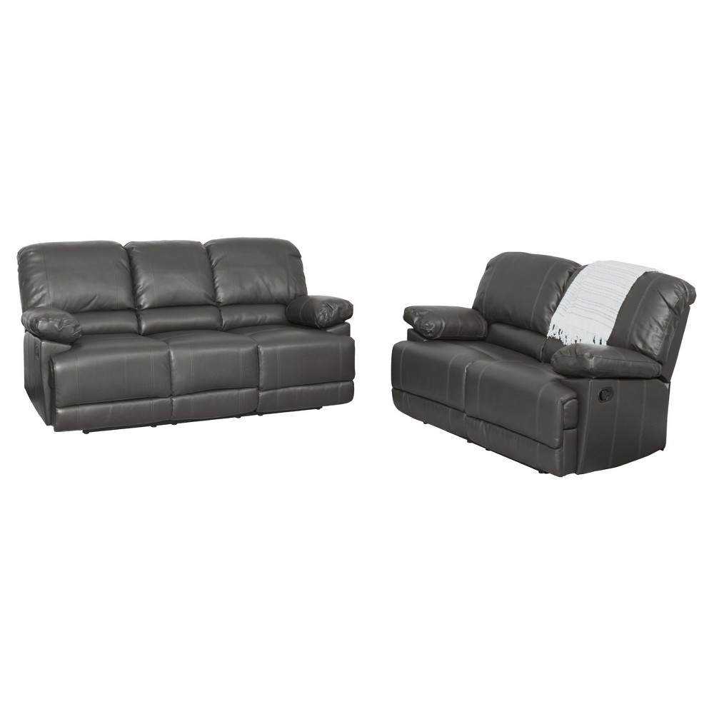 Image of 2pc Lea Brownish Gray Bonded Leather Reclining Sofa Set - Corliving