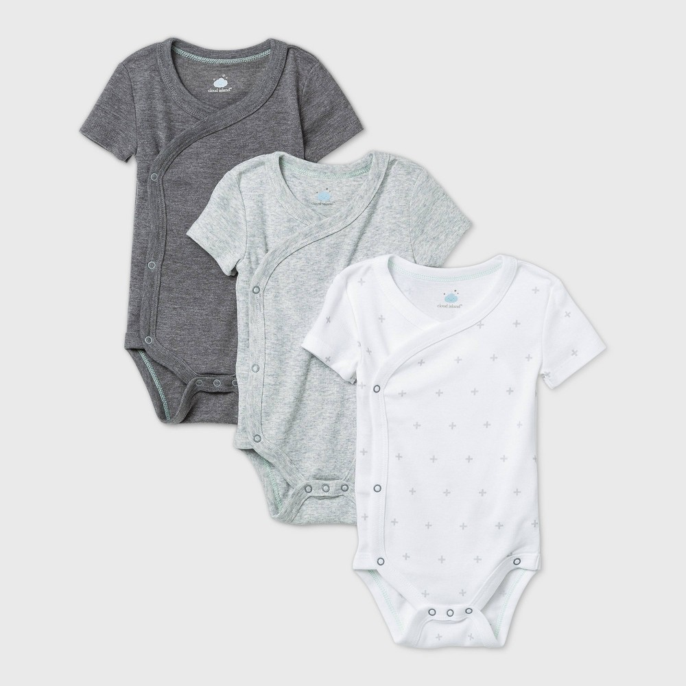 Coupons Baby 3pk Short Sleeve Basic Side Snap Bodysuit - Cloud Island™ Gray