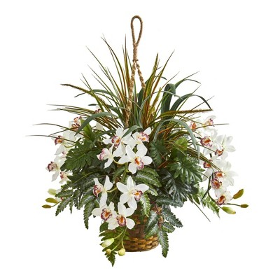 "29"" x 25"" Artificial Cymbidium Orchid and Mixed Greens Plant in Hanging Basket White/Green - Nearly Natural"