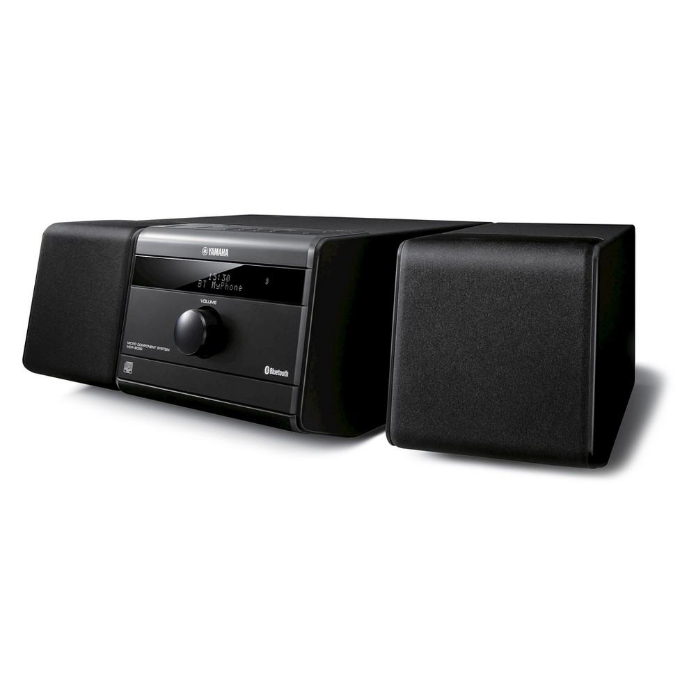 Bluetooth Mini System with CD Player, Black The Yamaha Bluetooth Mini Stereo System with CD Player is all you need to enjoy music from any source. The compact design and detachable speakers fit easily into any living space and flawlessly complements your contemporary décor. Large diameter speakers create rich, room-filling sound for a better listening experience. Size: 11.0x7.1 x5.6 . Color: Black.