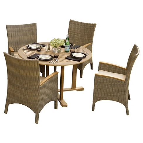 Torbay 5pc Dining Set with Cushions - Natural Shorea and Antique Resin Wicker - Oxford Garden - image 1 of 3
