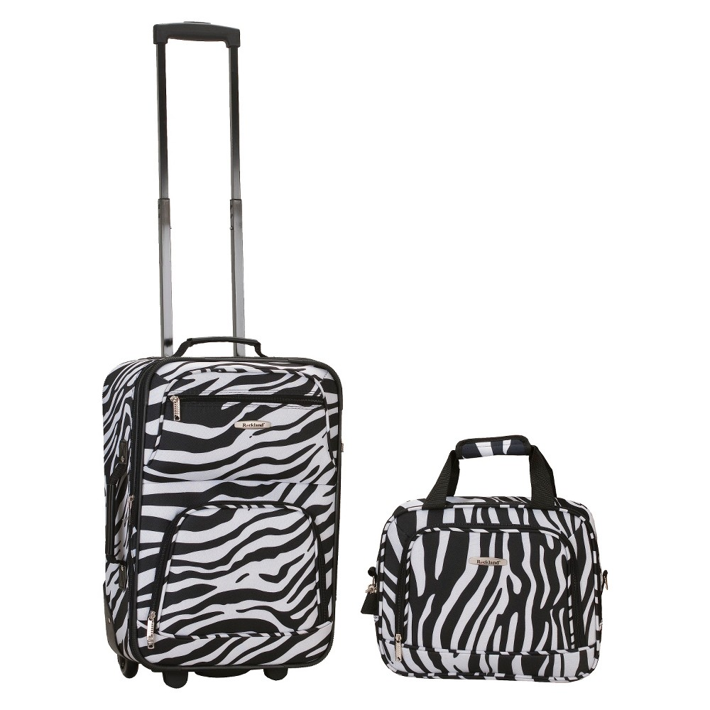 Rockland Rio 2pc Carry On Luggage Set Zebra