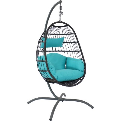 Penelope Hanging Egg Chair with Seat Cushions and Stand - Turquoise - Sunnydaze