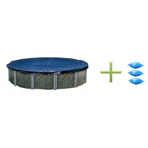Swimline 24 Foot Round Swimming Pool Winter Cover and 3 4x4 Air Closing Pillows - image 1 of 4