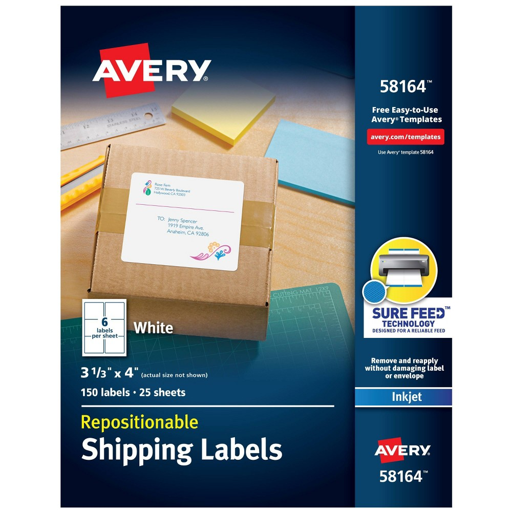 Image of Avery 3 1/3 x 4 Re-hesive Inkjet Labels- White (150 per Pack)