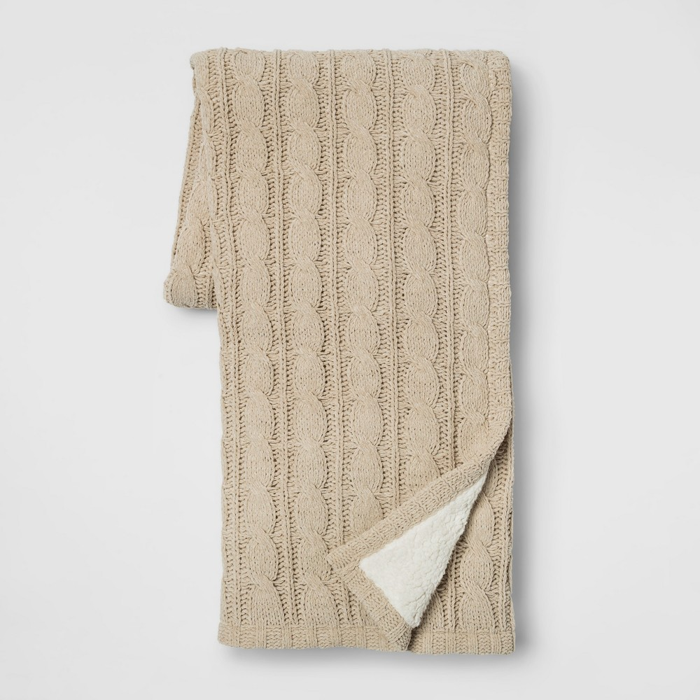 Chunky Chenille Reverse to Sherpa Throw Reverse Beige - Threshold