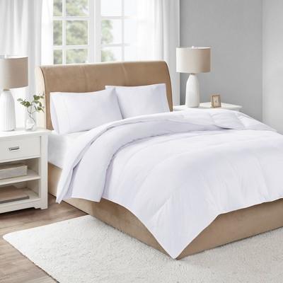 Cotton Sateen Down Comforter Level 3 300 Thread Count 3M Scotchgard (Full/Queen)White