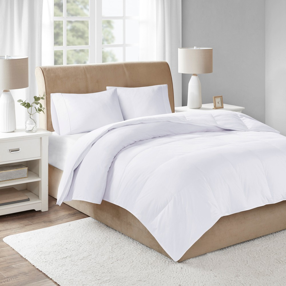 Image of Cotton Sateen Down Comforter Level 3 300 Thread Count 3M Scotchgard (Full/Queen) White