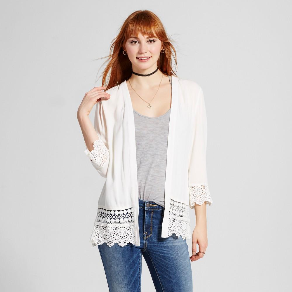 Women's Lace-Trim Kimono - Xhilaration Cream (Ivory) S