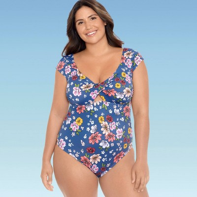Women's Plus Size Slimming Control Cap Sleeve Cut Out One Piece Swimsuit - Beach Betty by Miracle Brands Blue Floral