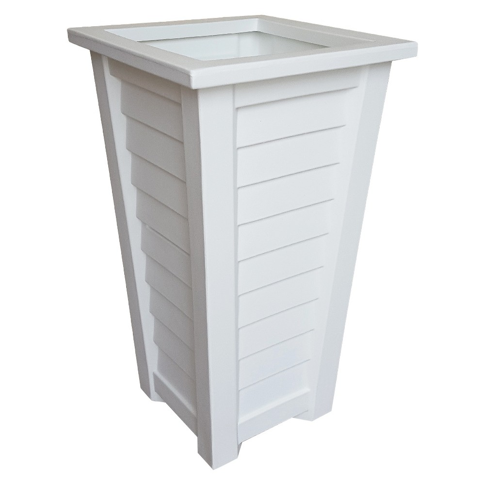 28 Lakeland Tall Planter - White - White - Mayne