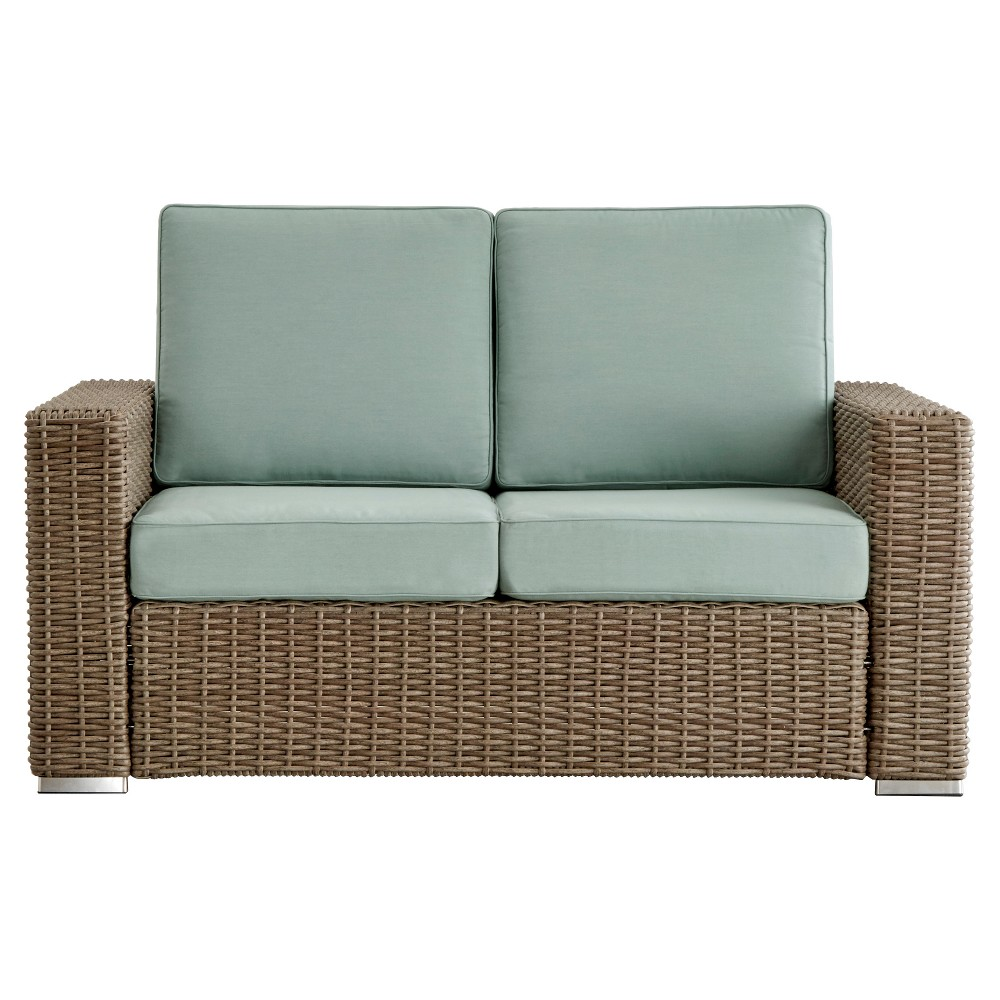 Riviera Pointe Wicker Patio Track Arm Loveseat with Cushions - Mocha/Blue - Inspire Q