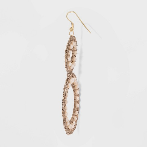 12972c2a4 Beaded Woven Drop Circle Earrings - A New Day™ Rose Gold : Target