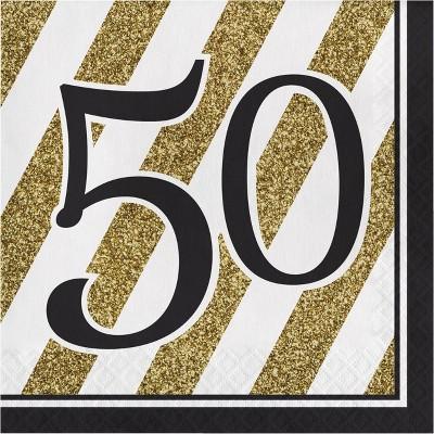 48ct Happy 50th Birthday Napkins Black