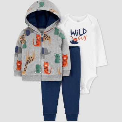 Baby Boys' Wild Guy Safari Long Sleeve Fleece Cardigan Top & Bottom Set - Just One You® made by carter's Gray 3M