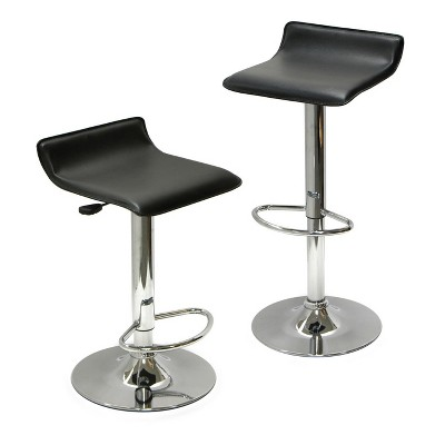 Set of 2 Spectrum , Adjustable Air Lift Stool, Black Faux Leather Metal - Winsome