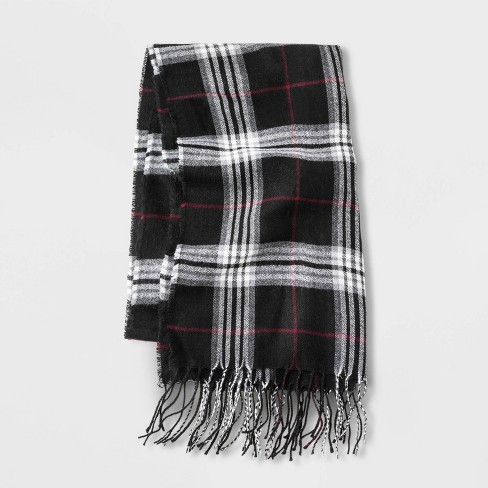 Men's Plaid Woven Scarf - Goodfellow & Co™ Black - image 1 of 1