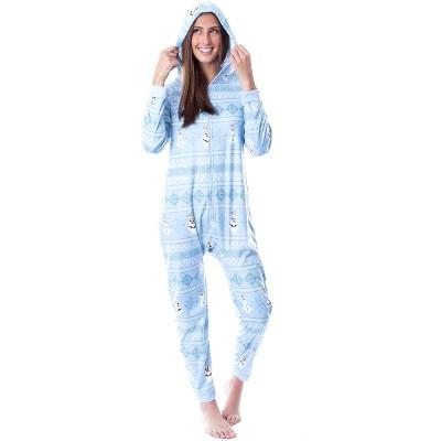 Disney Womens' Frozen Olaf Sweater Sleep Pajama Jumpsuit Union Suit