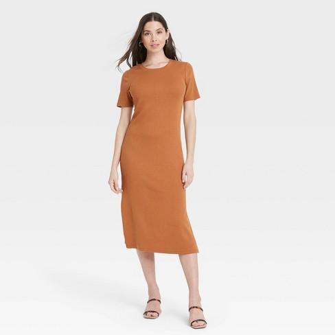 Women's Short Sleeve Rib Knit T-Shirt Dress - A New Day™ - image 1 of 3