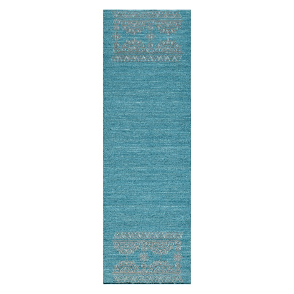 2'3X8' Solid Woven Runner Teal (Blue) - Momeni