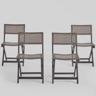 4pk Acacia Wood Patio Bistro Chair - Christopher Knight Home