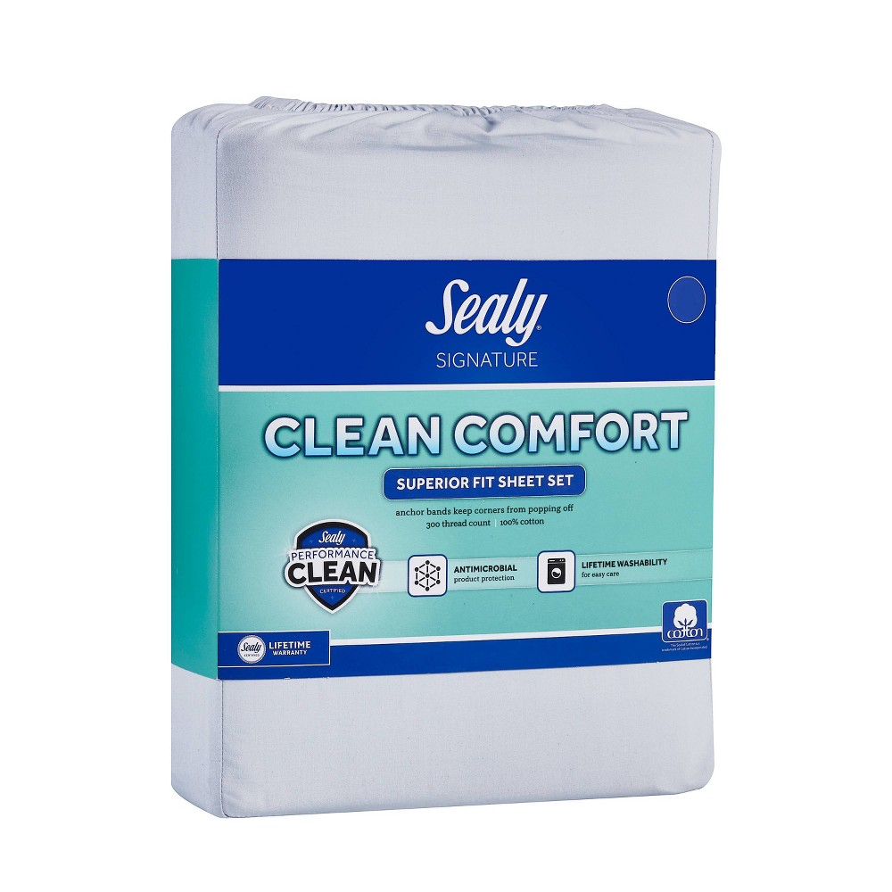 Full 300 Thread Count Clean Performance Solid Sheet Set Blue Sealy