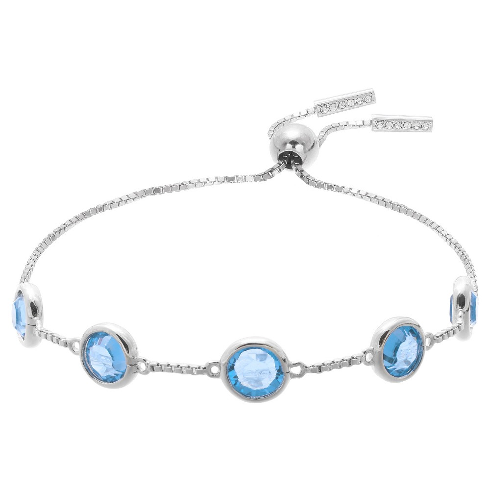 Adjustable Bracelet with Crystals from Swarovski in Silver Plate - Blue/Gray (9.5), Aqua