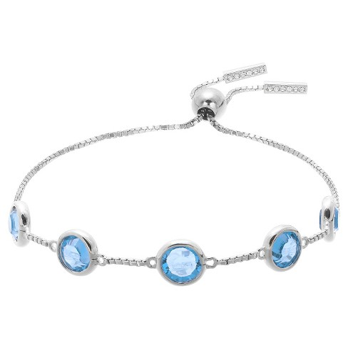 "Adjustable Bracelet with Crystals from Swarovski in Silver Plate - Blue/Gray (9.5"") - image 1 of 1"