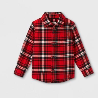 Toddler Boys' Plaid Flannel Long Sleeve Button-Down Shirt - Cat & Jack™
