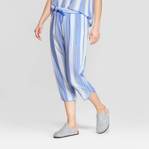 Women's Striped Simply Cool Crop Pajama Pants - Stars Above™ Blue - image 1 of 2