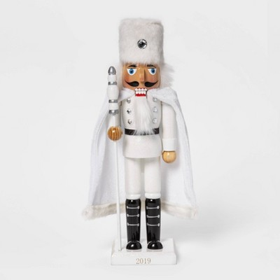 "14"" X 3.5"" Traditional Nutcracker In Faux Fur White   Wondershop™ by Wondershop"