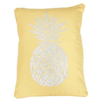 Foil Print Pineapple Lumbar Throw Pillow Yellow - Decor Therapy