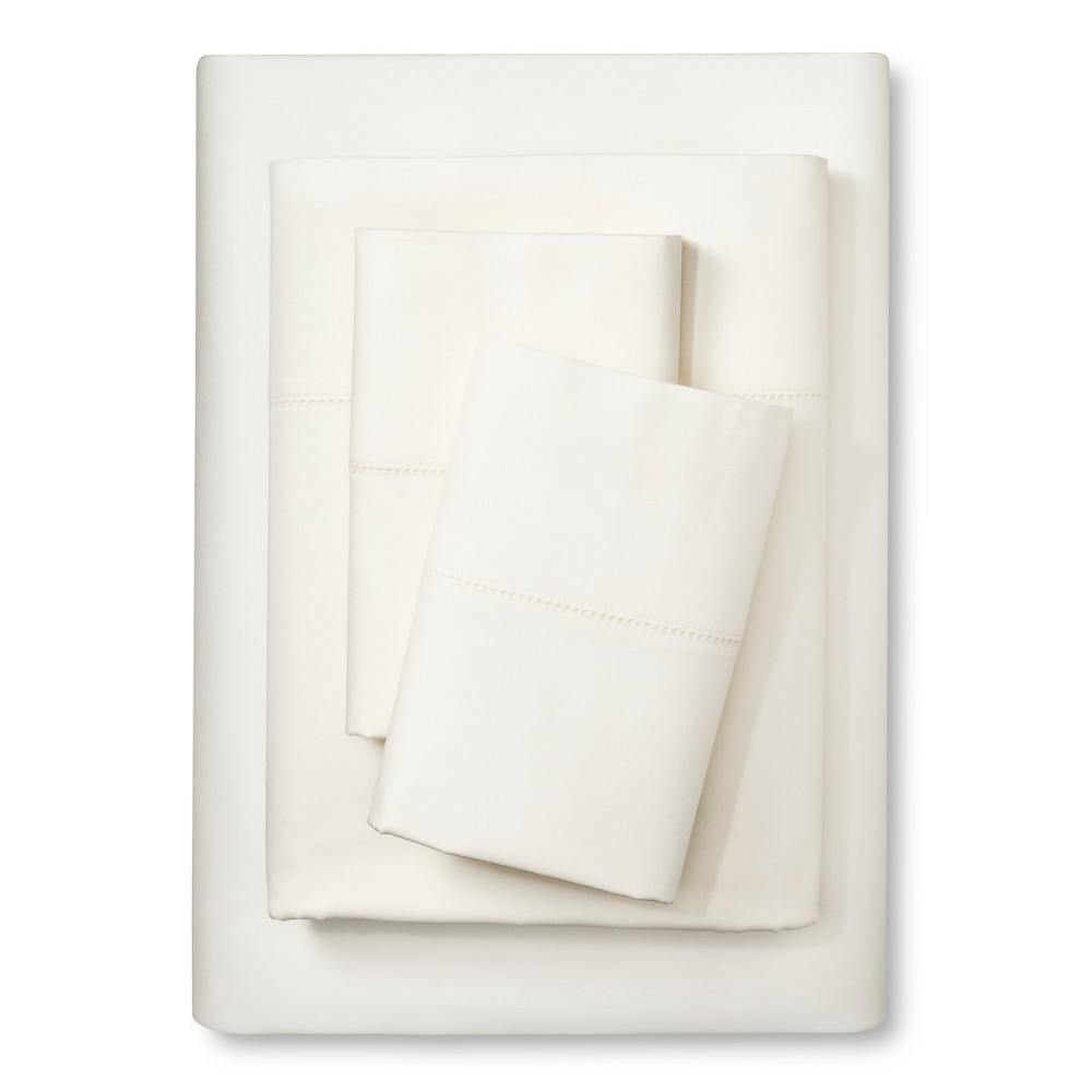 Image of Elite Home Hemstitch Solid 400TC Sheet Set - Ivory (Twin)