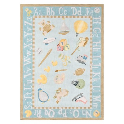 8'X10' Letters Hooked Area Rug Baby Blue - Momeni